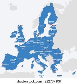 European Union map with all europe countries and capital name