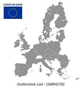 European Union map. EU member countries, europe country location travel maps. Political globe EU member atlas map, cartography vector illustration