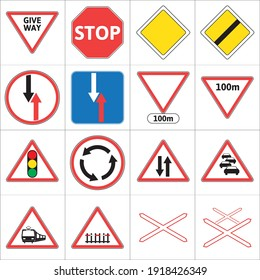 European Union Road Sign Set - part 1. Road signs used in European Union.