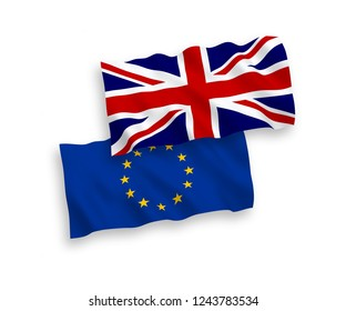 European Union and United Kingdom flags isolated on white background. Vector illustration of the EU und Great Britain flags