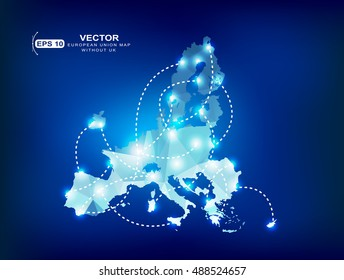 European Union without the United Kingdom.European Union map polygonal with spot lights places