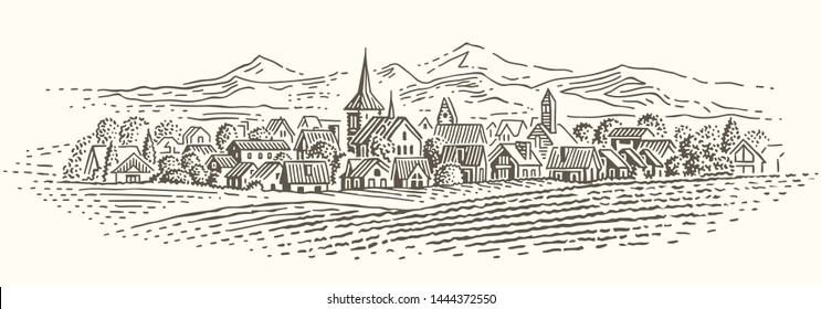 European village landscape illustration. Isolated, vector.