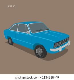 European vintage car vector illustration. Vintage sport car. Retro coupe