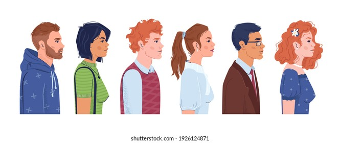 European and Western Eurasian fair skin people, side view portraits of caucasian men and women, flat cartoon characters. Vector civil society, white citizens, american staff. Group of caucasoid