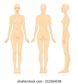 European woman's body template. Front, back and profile.