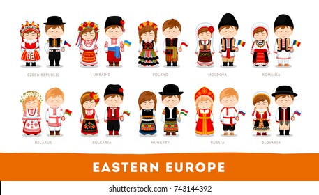 Europeans in national clothes. Eastern Europe. Set of cartoon characters in traditional costume. Cute people. Vector flat illustrations.