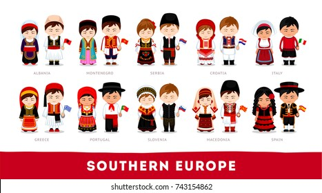 Europeans in national clothes. Southern Europe. Set of cartoon characters in traditional costume. Cute people. Vector flat illustrations.
