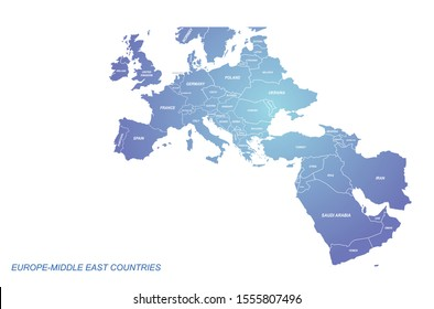 europe-middle east countries map. eu map. arab map.