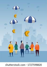 Des euros flottant dans les pays de l'UE comme plan de secours financier pour la récession imminente de la crise COVID-19. Les citoyens regardent et portent des masques de protection, avec en toile de fond la ville.