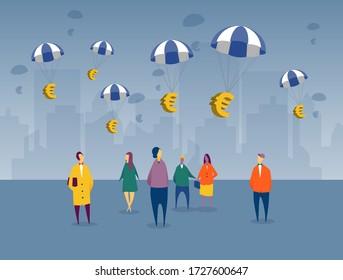 Des euros flottant dans les pays de l'UE comme plan de secours financier pour la récession imminente de la crise COVID-19. Les citoyens regardent dans le contexte de la ville