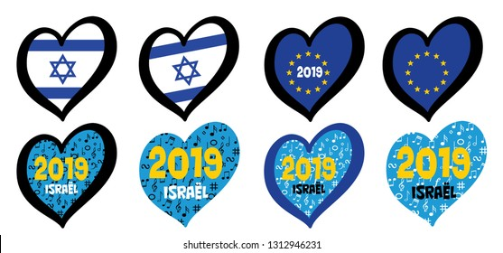Eurovision europe contest song 2020 Funny euro country map heart flag logo symbol Fun music festival icon Songfestival hearts countries icons Israel Israël flags Dare to dream Duncan Laurence