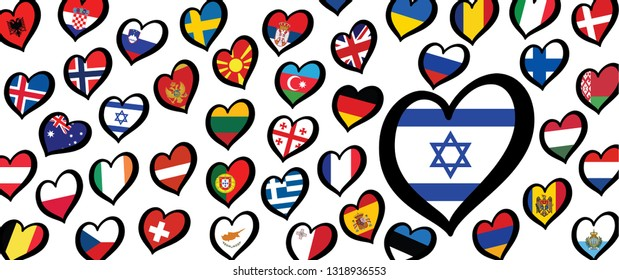 Eurovision song contest 2020 Israel Flag Israël Fun Funny Music notes love heart Logo EURO Europe sign signs Grand Final party musical symbol countries country festival pattern rotterdam songs