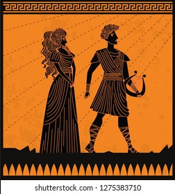 Eurydice and orpheus orange and black scene