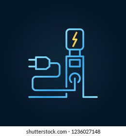 EV charging station colored outline icon. Electric recharging point symbol in thin line style on dark background