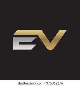 EV company linked letter logo golden silver black background