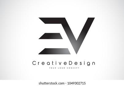 EV E V Letter Logo Design in Black Colors. Creative Modern Letters Vector Icon Logo Illustration.