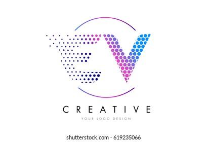 EV E V Pink Magenta Dotted Bubble Letter Logo Design. Dots Lettering Vector Illustration