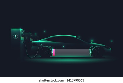 EV Electric car silhouette with low battery charging at electric charge station. Vector illustration.