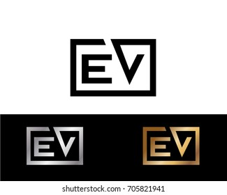 EV initial box shape Logo designs template
