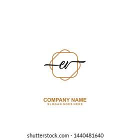 EV Initial handwriting logo template vector