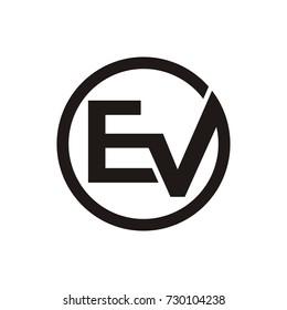 ev initial letter logo design template vector inside circle