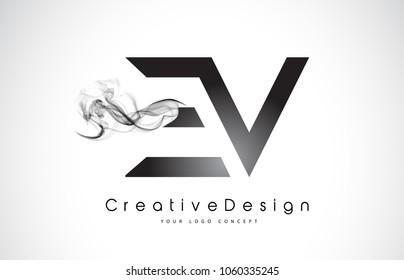 EV Letter Logo Design with Black Smoke. Creative Modern Smoke Letters Vector Icon Logo Illustration.