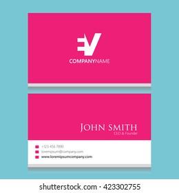 EV Logo | Business Card Template |