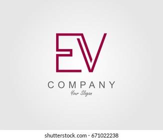 EV Logo. Letter design vector