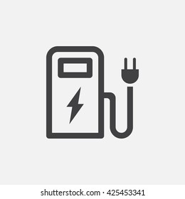 ev station line icon, charging outline vector logo, linear pictogram isolated on white, pixel perfect illustration