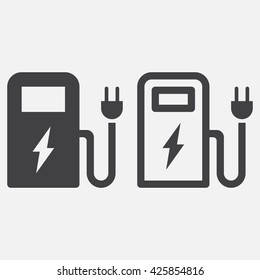 ev station line icon, outline and solid vector logo, linear pictogram isolated on white, pixel perfect illustration