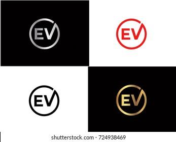 EV text gold black silver modern creative alphabet letter logo design vector icon