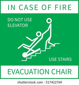 Evacuation chair sign. In case of fire