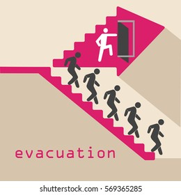 evacuation, emergency, stairs, door traveling people
