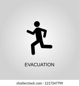Evacuation icon. Evacuation symbol. Flat design. Stock - Vector illustration