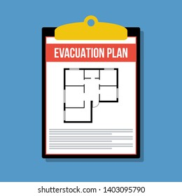 evacuation plan in clipboard, vector flat illustration