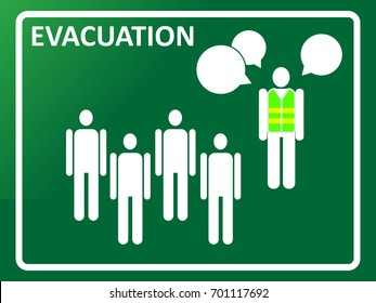 Evacuation plan meeting concept. Team leader explaining evacuation route to members. EPS10 vector illustration for poster, template, banner, sign, symbol, print, infographic, design element, icon.
