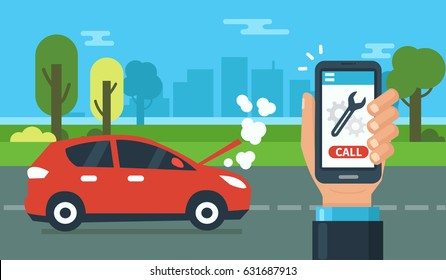 Evacuation service concept design for web banners, infographics. Car assistance at road. Flat style vector illustration.