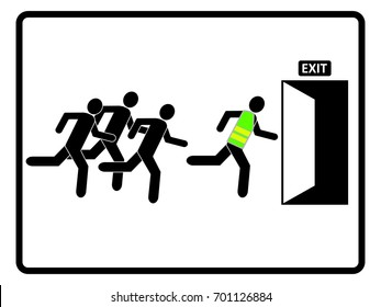 Evacuation team concept. Group of people running toward the exit to leave the building. EPS10 vector illustration for sign, symbol, poster, leaflet, banner, web, application, template, book.