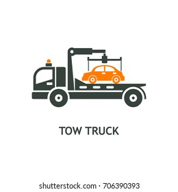 Evacuation vehicles. Tow truck for transportation faulty cars. Vector pictogram, icon.