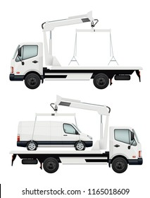 Evacuator car. Vector realistic cars, evacuators. Evacuate auto vehicle, evacuation automobile illustration