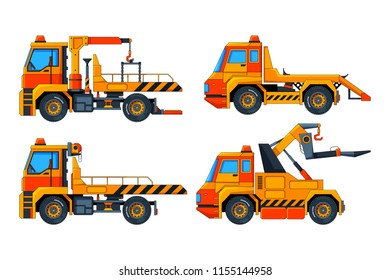 Evacuator cars. Various vector pictures of transport. Illustration of evacuator transportation, car transport for evacuation