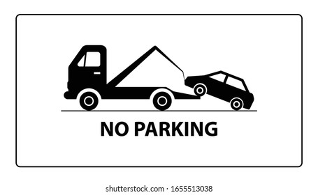 Evacuator tow away car on road with traffic signs. No parking warning sign.Vector illustration.