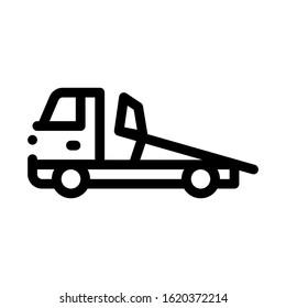 Evacuator Truck Icon Vector. Outline Evacuator Truck Sign. Isolated Contour Symbol Illustration