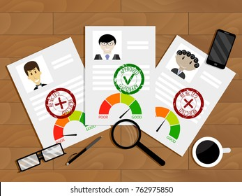 Evaluation of candidate for loan. Paperwork and agreement finance approval, good rating for mortgage. Vector illustration