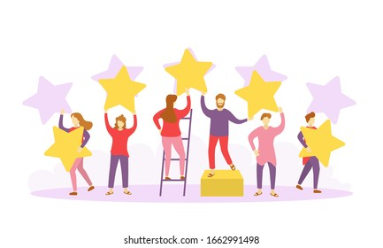 Evaluation of customer reviews.Customers evaluating a product, service.Different people give feedback ratings and reviews.Characters hold stars above their heads.Five star rating.Vector illustration.