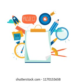 Evaluation, examination questionnaire, planning project, business assessment, data collecting flat vector illustration design. Questionnaire clipboard, project review for mobile and web graphics