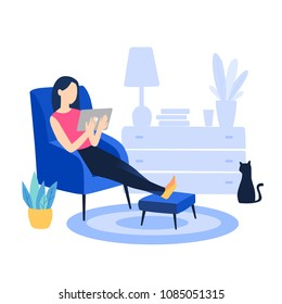 Evaluation of online support, contract service or purchase product. Young clever student drinking coffee and reading a novel at home. Vector cartoon illustration isolated on white background.