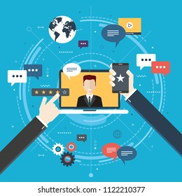 Evaluation of online support, contract service or purchase product. Customer testimonials, vote and feedback, rating and liked. Concept of technology on business. Flat design vector illustration.