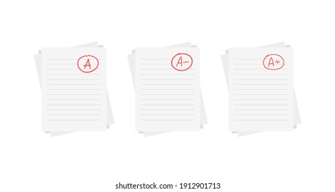 Evaluation system. Set of letters and grades of the teacher on paper. Vector flat illustration. A, B, C, D, F exam result score red mark on white background.