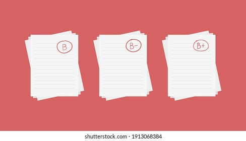 Evaluation system. Set of letters and grades of the teacher on paper. Vector flat illustration. B exam result score red mark on red background.